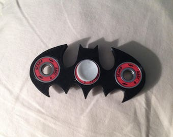 Custom Hand Spinner Fidget Toy Batman EDC w/ ABEC 9 Bearing, Black with any color caps you choose!
