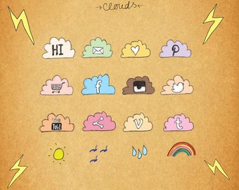 Social Media Icons, Hand Drawn Pastel Web Icons, Blog Icons, 3 Sizes for each, Transparent PNG files, PSD, Facebook, Twitter, Instagram etc.