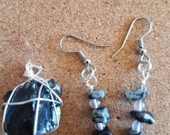 Snowflake Obsidian earrings and necklace set