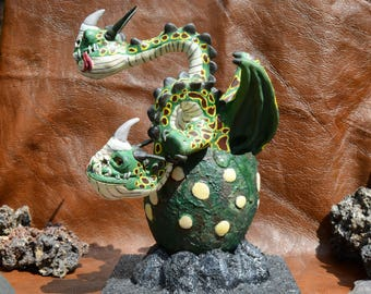 OOAK hand made sculpture in egg inspired by Barf and Belch the Zippleback (HtTYD)