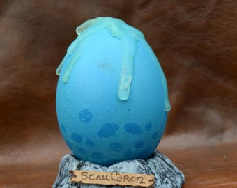Scauldron Dragon egg inspired by HtTYD -  hand made sculpt over real goose egg