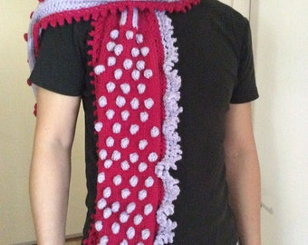 Handknit scarf - Original design - Whimsical Mad Hatter
