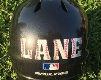 Personalized Boys Baseball Helmet Decal