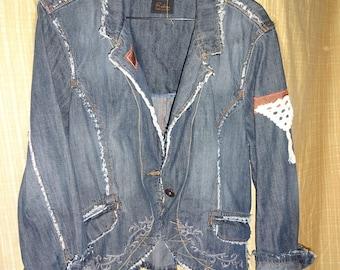 Distressed Frayed Denim Jacket Boho Upcycled Denim