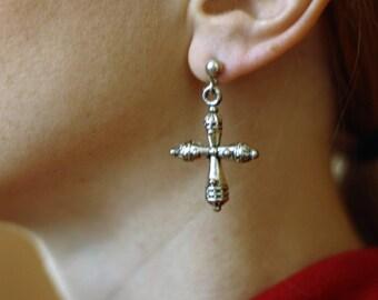 Vintage 1980s White Metal Crucifix Earrings
