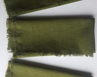 Olive Green Fringed Cloth Napkins