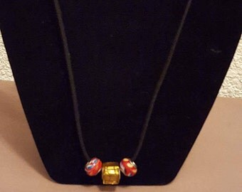 Murano Bead Necklace-Red and Yellow