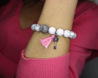 White/Grey Gemstone bracelet with charms