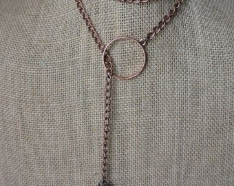 Brass Chain Wrap Necklace with Stone