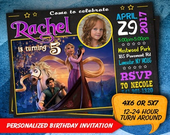Tangled Birthday Invitation, Rapunzel Invitation, Rapunzel Party, Tangled Personalized, Princess Printables, Tangled Invitations, Invites