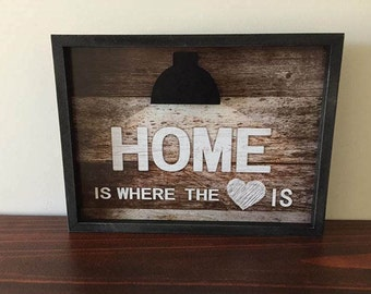 """Light Up """"Home Is Where The Heart Is"""" sign."""