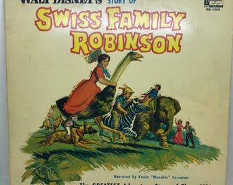 Vintage Vinyl LP, Walt Disney's Story of Swiss Family Robinson From Disneyland Record, ST 1280, 1963