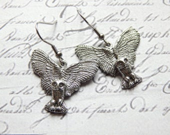 Owl Earrings - Australian Pewter Cast Owl Earrings