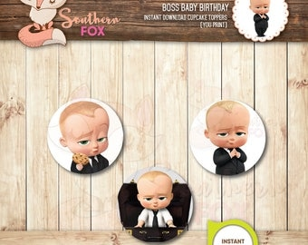 Boss Baby Cupcake Toppers-Instant Download 12 Designs + 9 Ruffles - The Boss Baby Cupcake Toppers, Boss Baby Cupcakes