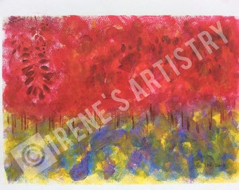 Acrylic Painting  - The Red Forest