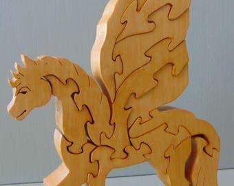 Handmade Mythologial Pegasus Solid Birch Hardwood Puzzle 13 Pieces