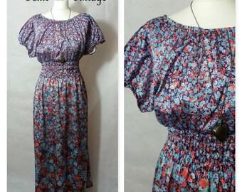 VINTAGE 1970's Floral Cold Shoulder Maxi Dress, Size 10-12 Retro, Pretty, Boho, Festival, Holiday, Vacation, Summer