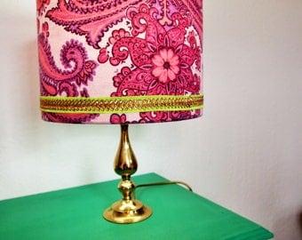 Pink and Green, Paisley, Handmade, Retro Lampshade