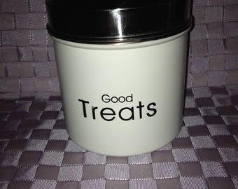 Treat Can with GoodTreats printed on outside. Stainless Steel Lid