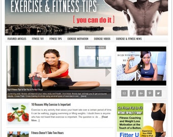 Premade Website | Website Template | Turnkey Website | Blog Design | Website Design | Wordpress Website | Blog Theme | EXERCISE FITNESS