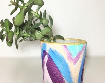 Abstract Multi-Colored Cement Planter, Rustic Home & Gift Ideas, Home Decor Ideas, Home Accessories, Party Favors, Pot Holder, Pot Planter
