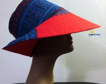 GM Ladies Ankara hat, wide brim, blue red Summer, Sun -  Size 24 inches in diameter