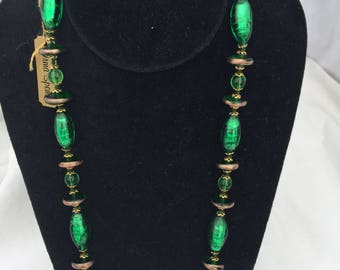 Green and Gold Tone Hand Knotted Necklace