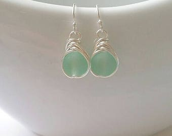 Mint Green Seaglass Wire Wrapped Earrings