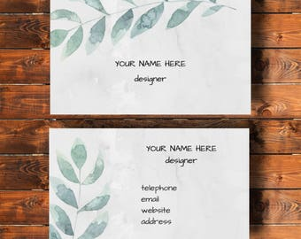 Printable business card,nature, watercolour design