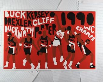 1990 Portland Trail Blazers Poster