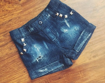 Toddler jean shorts, toddler distressed denim, baby shorts, vintage shorts, holey shorts, studded shorts, toddler style, girls shorts