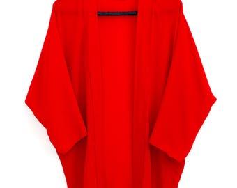 Red kimono // Summer cardigan // Summer cover up // Beachwear // Monochrome kimono // oversize fitting //