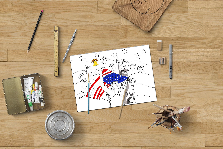 Colorear página regalo patriótico, bandera americana, página para ...