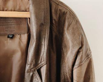 Rad 80s leather jacket // vintage leather jacket // brown leather jacket // large women's leather jacket // baggy jacket // gifts for her