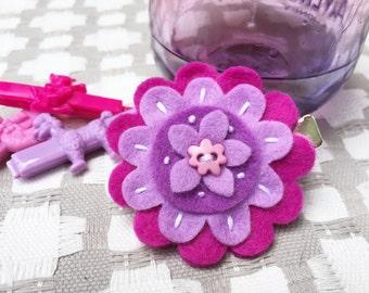 Flower Hair Clip- Purple