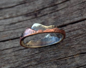 """mountain ring """"explore"""", sterling silver & copper"""