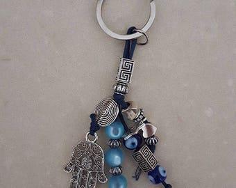 Handmade Hamsa evil eye Keychain blue
