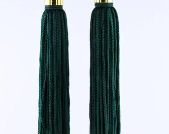 The 5th Ave Tassel/Fringe Earrings in Forest