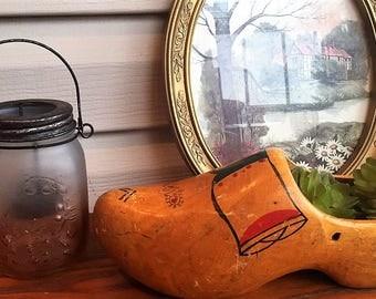 Antique Wett V.V. Ged clog -- makes a unique succulent planter!