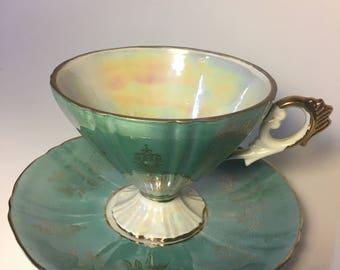 Vintage Teacup and Saucer – Seafoam Green, White, and Gold – delightful floral design – Norcrest Japan,  C-391