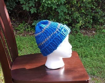 Teal & Silver Striped Slouchy Hat