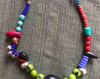 Boho seed, bells necklace