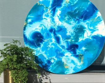 Resin Circle Art - Blue, White and Gold
