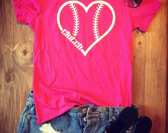 Womens Pink Baseball Heart Shirt