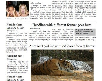 Most popular Four-page Newspaper Template - Instant Download For Unlimited Use in MS Word