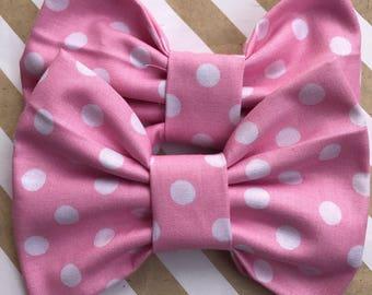 Pink Minnie Mouse hair bow, 5 inch hair bows, big hair bows, boutique bows, large hair bows, girl hair bows, toddler hair bow, Fabric Bow