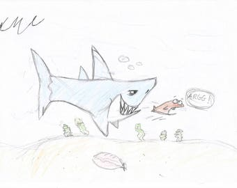 Drawing, Underwater drawing, shark drawing, fish drawing ,WMc, inspirational, inspirational drawing, digital, downloadable, print,