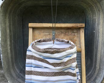 1930s UpCycled Clothes Pin Bag Long Hang Vintage Handmade Stripe Clothespin Bag Salvaged Open Mouth Frame Clothes Pin Bag