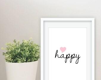"""Art print poster """"happy"""" happy"""