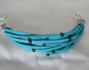 Faux Suede Bracelet Teal with Black Beads